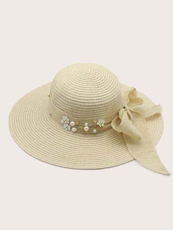Faux Pearl & Floral Decor Straw Hat   SHEIN USA
