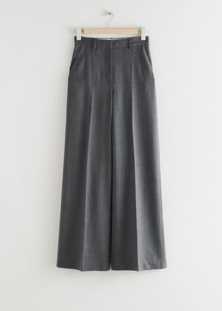Wide High Waist Trousers - Black - Trousers - & Other Stories