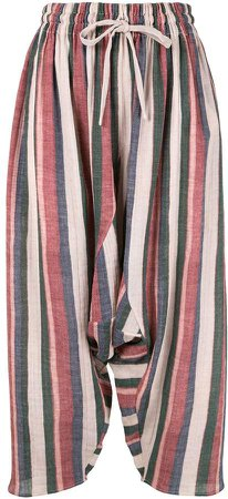 striped drop-crotch trousers