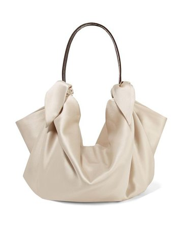 Lyst - Nanushka Inda Croc-effect Leather-trimmed Knotted Satin Tote in Natural