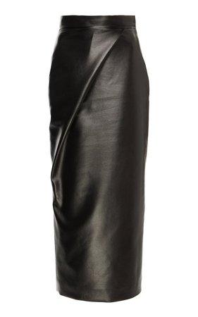 High-Waisted Faux Leather Midi Skirt by MATÉRIEL | Moda Operandi