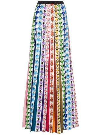 Mary Katrantzou Bottle Print Rainbow Pleat Maxi Skirt - Farfetch
