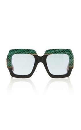 Gucci Sunglasses Square-Frame Snakeskin and Acetate Sunglasses