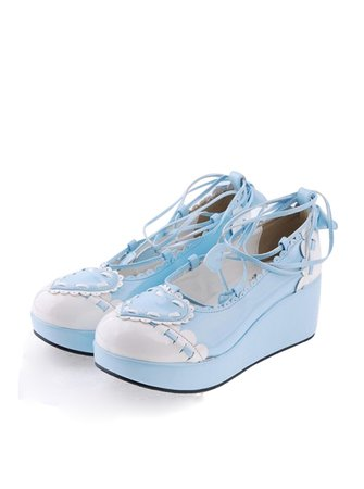 """Sky-blue 2.4"""" High Heel Charming Synthetic Leather Scalloped Criss Cross Lace Tie Platform Girls Lolita Shoes"""
