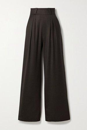 Pleated Wool-blend Twill Wide-leg Pants - Dark brown