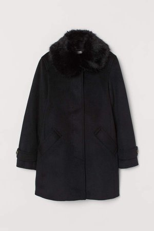 Coat with Faux Fur Collar - Black