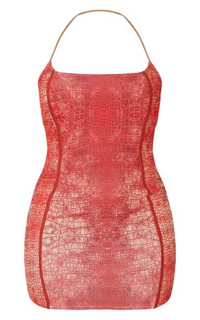 Red Snake Print Binded Detail Clear Strap Bodycon Dress - View All - Clothing | PrettyLittleThing USA
