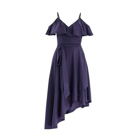 Paisie Cold Shoulder Wrap Front Dress With Frills & Asymmetric Hem In Indigo