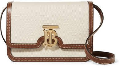 Small Canvas And Leather Shoulder Bag - Cream