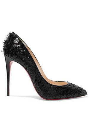 Christian Louboutin | Pigalle Follies 100 fringed patent-leather pumps | NET-A-PORTER.COM