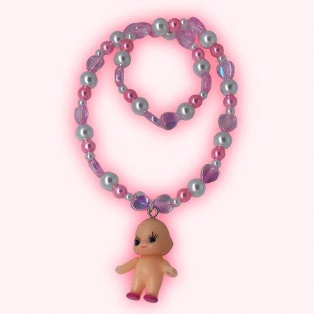 PEARLY KEWPIE NECKLACE🤍💌 so cute ! elastic necklace... - Depop