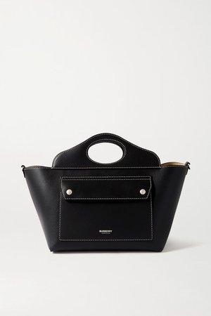 Mini Topstitched Leather Tote - Black