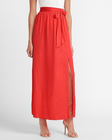 High Waisted Tie Front Slit Maxi Skirt