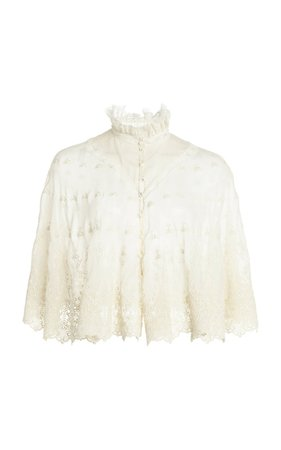 Lace-Trimmed Embroidered Silk Georgette Cape Top by Paco Rabanne   Moda Operandi