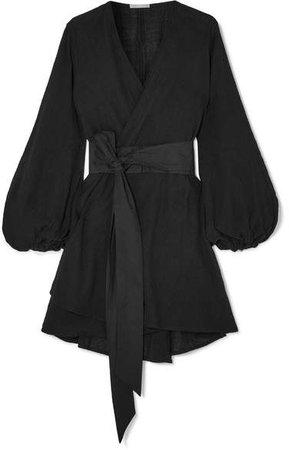 Gaia Cotton-gauze Wrap Mini Dress - Black