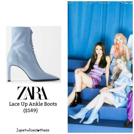 "Twice's Fashion on Instagram: ""DAHYUN FEEL SPECIAL TEASER ZARA- Lace Up Ankle Boots ($149) #twicefashion #twicestyle #twice #nayeon #jeongyeon #jihyo #momo #mina #sana…"""