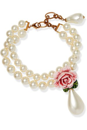 Dolce & Gabbana | Faux-pearl, enamel and crystal necklace | NET-A-PORTER.COM