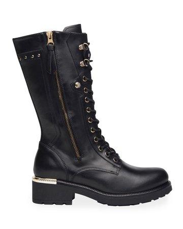 NeroGiardini Dual-Zip Tall Leather Combat Booties