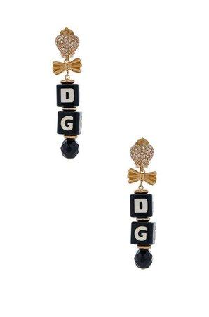 Dolce & Gabbana Cube Drop Earrings in Black & Gold