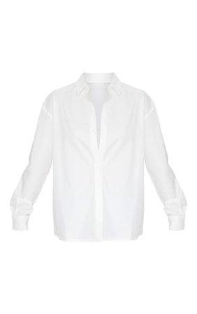 White Horn Button Cotton Oversized Shirt | PrettyLittleThing
