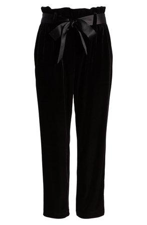 Halogen® Paperbag Waist Velour Ankle Pants | Nordstrom
