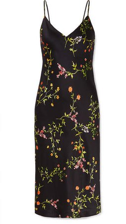 Jodie Floral-print Silk Crepe De Chine Dress - Black