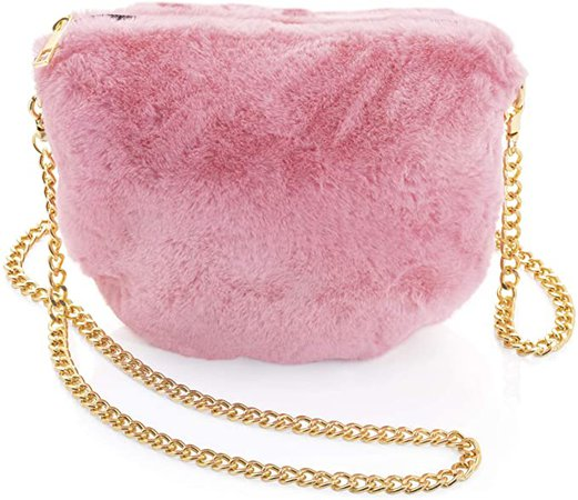 Amazon.com: Fluffy Baby Pink Colour Faux Fur Hand Bag Clutch With Gold Chain: Clothing
