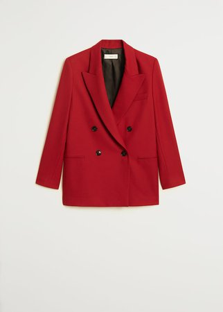 Gestructureerde double-breasted blazer - Dames | Mango Nederland