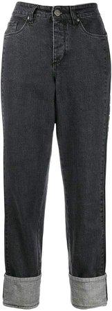 logo tape boyfriend jeans