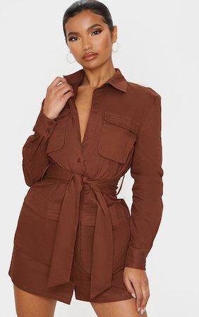 Chocolate Utility Tie Waist Shirt Dress | PrettyLittleThing