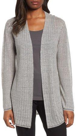 Stripe Organic Linen Blend Cardigan