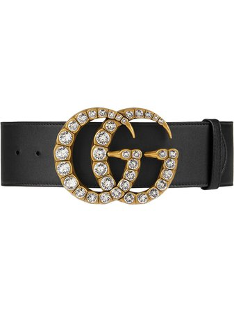 Gucci Leather Belt With Crystal Double G Buckle - Farfetch