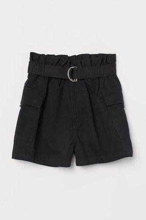 Belted Utility Shorts - Black