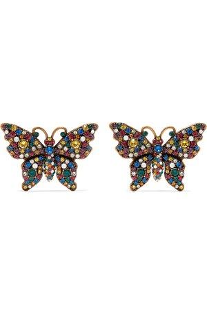 Gucci | Gold-tone crystal earrings | NET-A-PORTER.COM