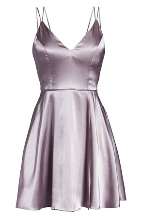 Sequin Hearts Strappy Satin Fit & Flare Minidress lilac