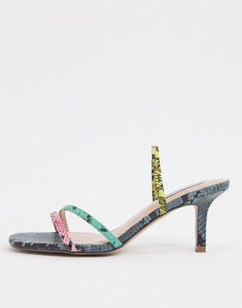 Steve Madden Loft strappy heeled sandal in multi snake   ASOS