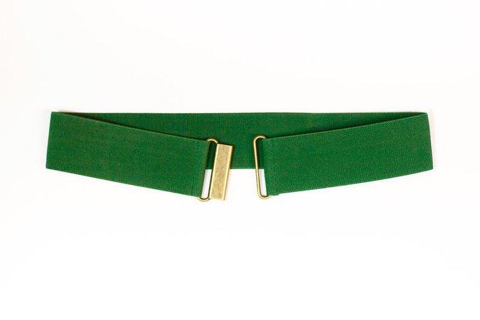 2 green elastic belt Women's cinch waist belt | Etsy