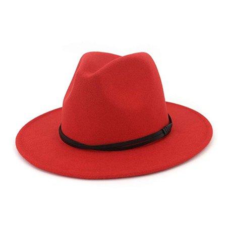 Autumn Winter Wool Men Black Red Fedora Hat Gentleman Wide Brim Top Jazz Elegant Women Hats for Church Cap at Amazon Men's Clothing store