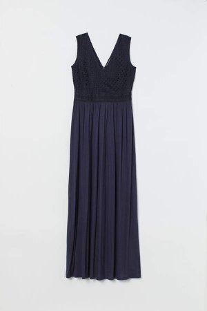 Long Lace-bodice Dress - Blue