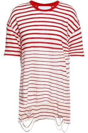 Distressed Striped Slub Linen-jersey T-shirt