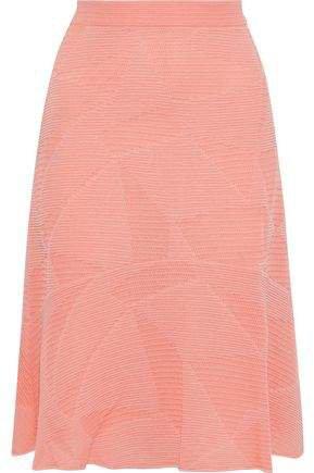 Fluted Crochet-knit Cotton-blend Skirt