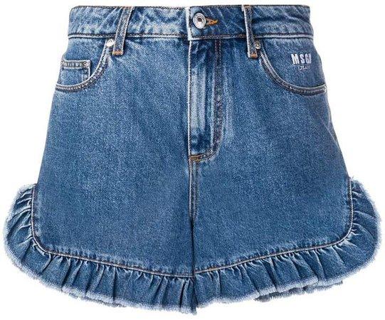ruffle denim shorts