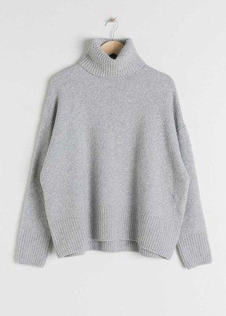 High Neck Sweater - Grey - Turtlenecks - & Other Stories DE