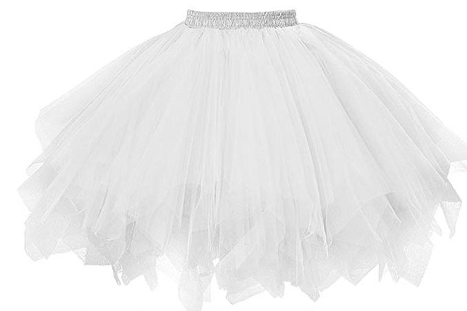 Amazon.com: Musever 1950s Vintage Ballet Bubble Skirt Tulle Petticoat Puffy Tutu White Small/Medium: Clothing
