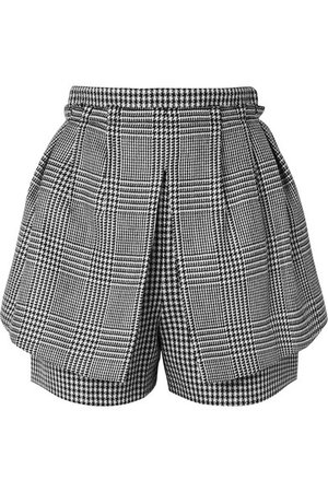 Alexander McQueen | Layered Prince of Wales and houndstooth checked wool shorts | NET-A-PORTER.COM
