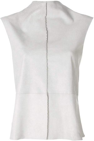 Vanderwilt standing collar sleeveless blouse