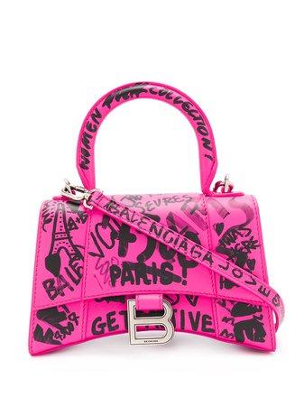 Pink Balenciaga Hourglass Xs Graffiti Print Tote | Farfetch.com