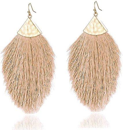 Amazon.com: Fringe Tassel Statement Dangle Earrings- Lightweight Long Silky Feather Earrings Tassel Necklaces For Women: Clothing