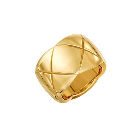 gold quilted chanel ring