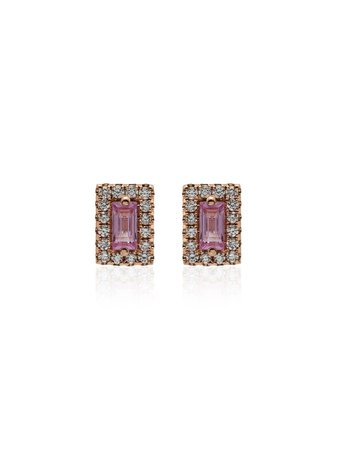 Suzanne Kalan Rose Gold And Pink Sapphire Stud Earrings | Farfetch.com